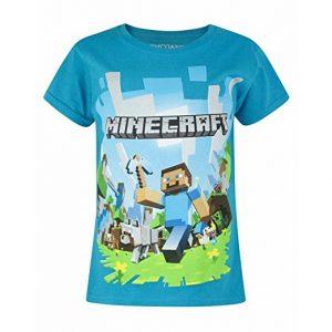 tricou minecraft albastru